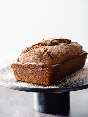 Pumpkin Bread on a black cake stand