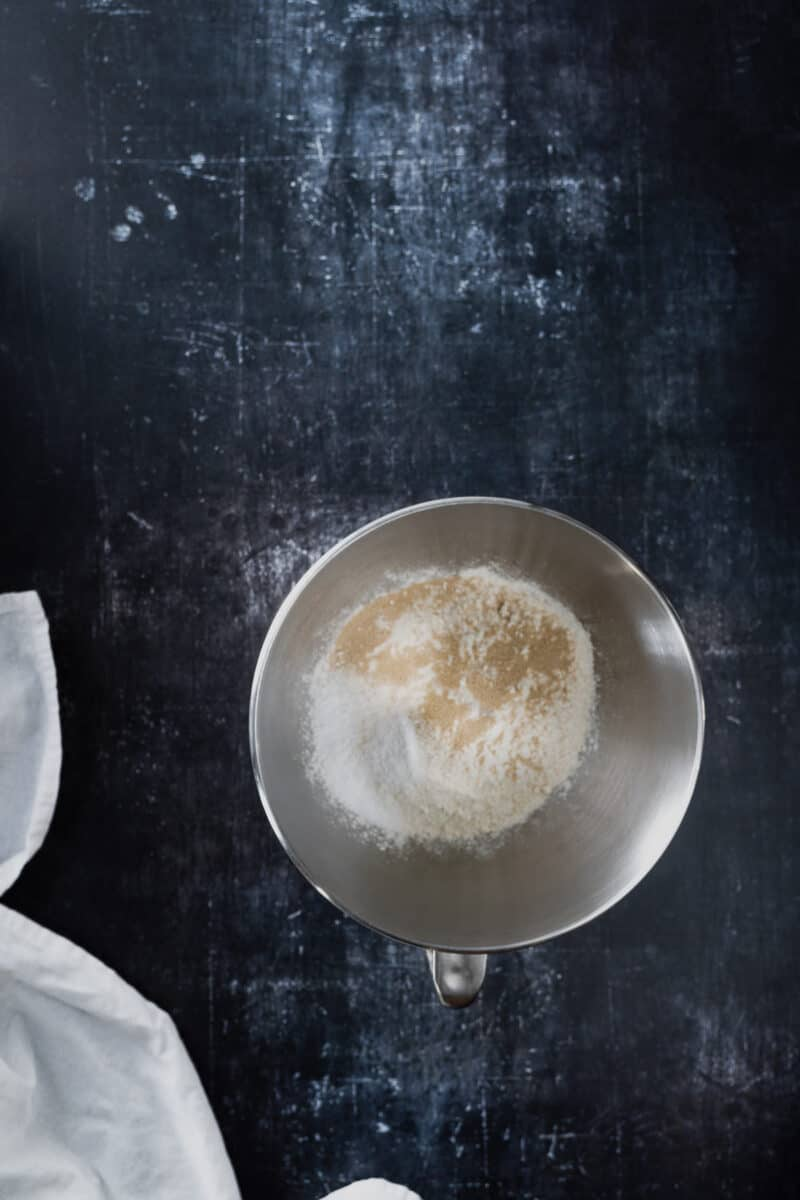 Flour, yeast, and salt in a stand mixer bowl