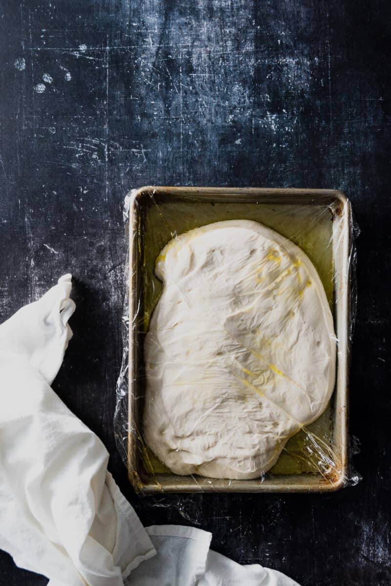 Focaccia dough in a sheet pan covered with plastic wrap