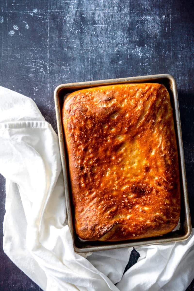 Focaccia in a sheet pan