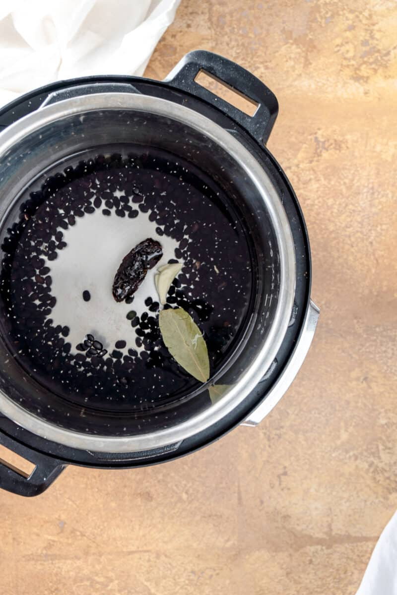 Black beans, water, a garlic clove, bay leaf, and dried morita chile in an Instant Pot