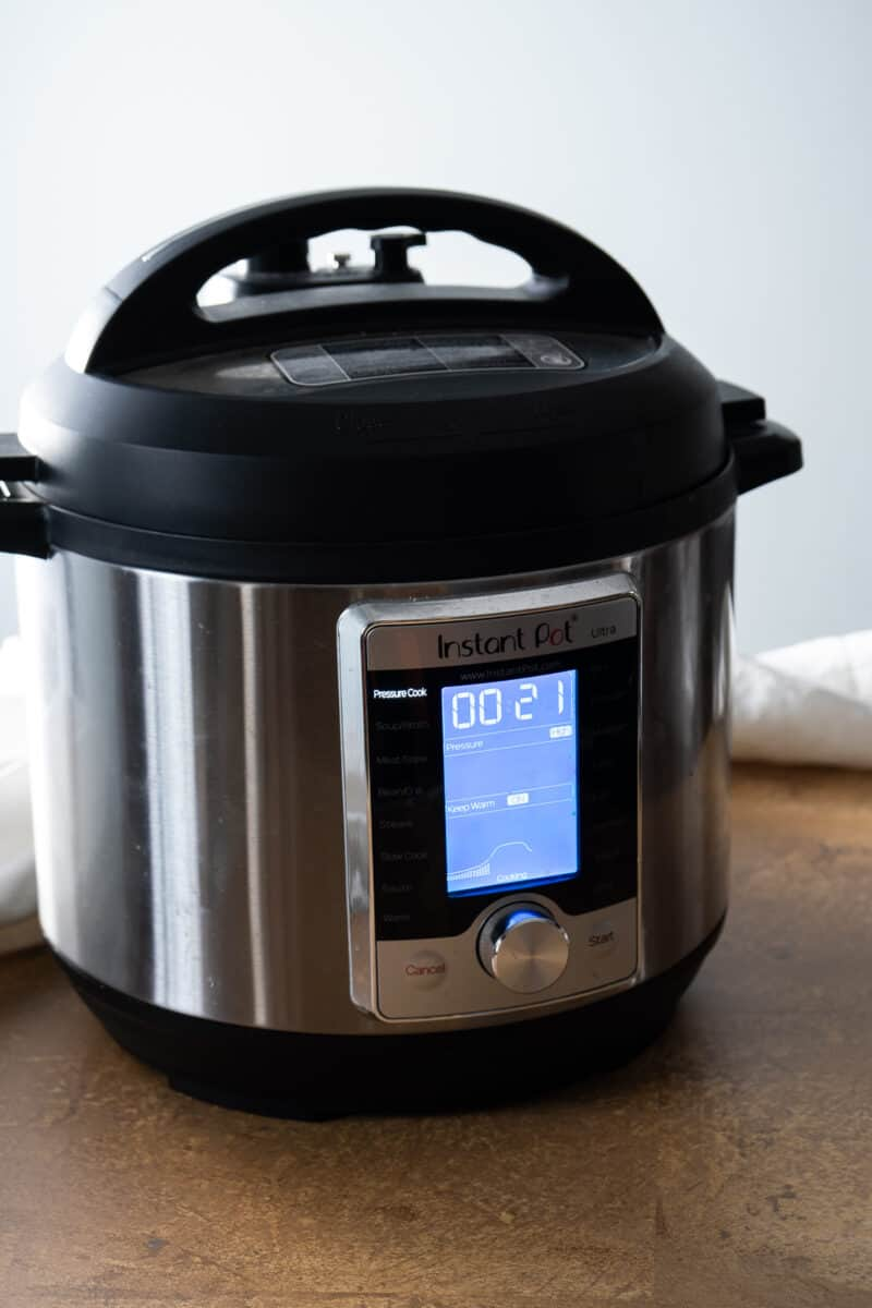 Instant Pot showing 21 minutes on the clock