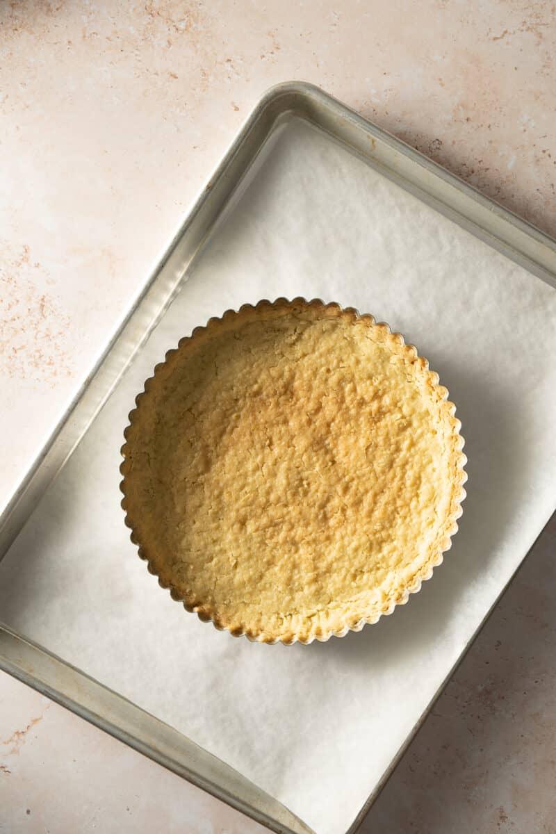 Lime shortbread tart crust after baking