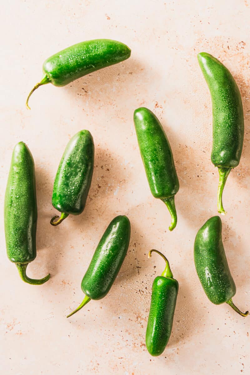 Jalapeño peppers on a counter