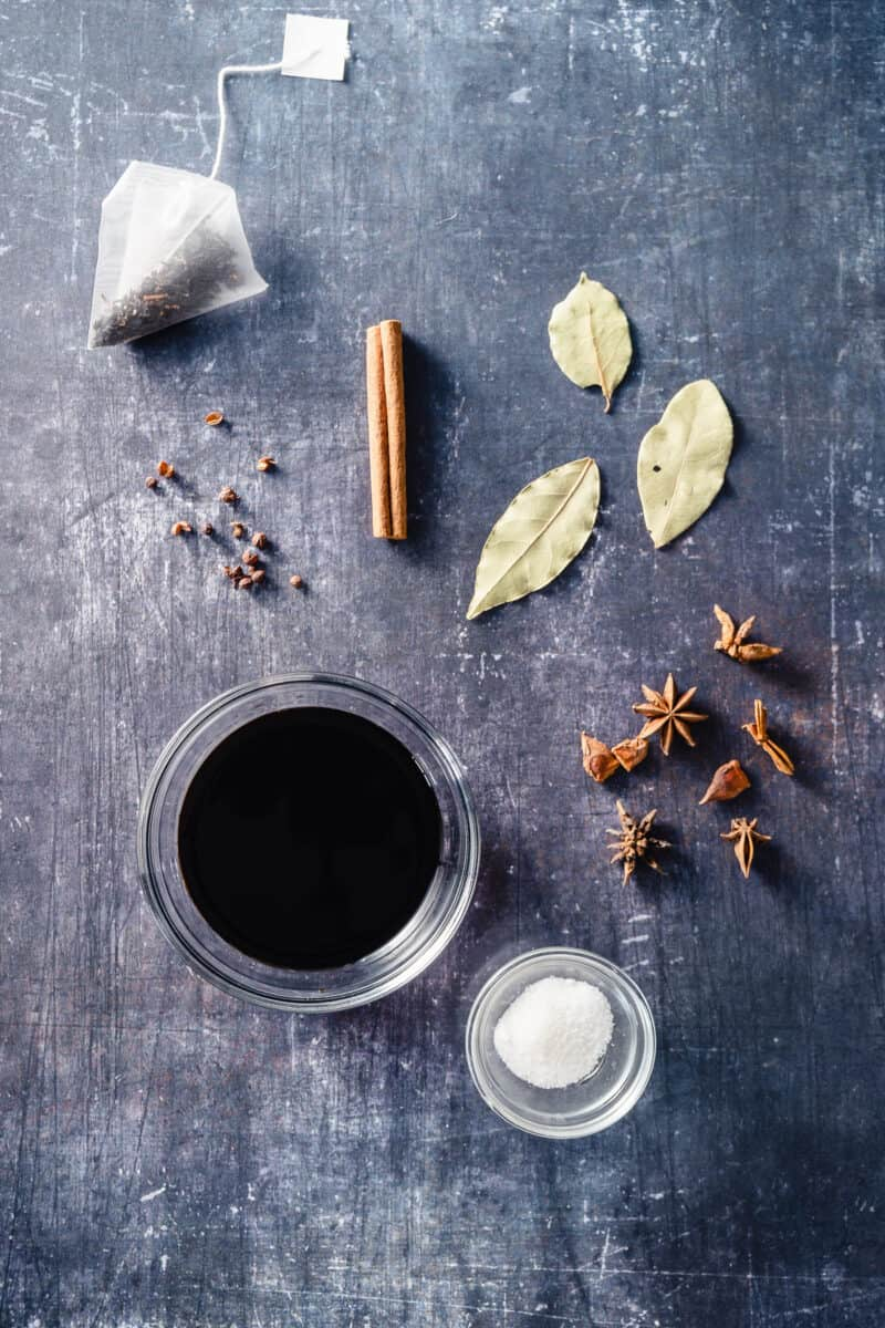 Tea bag, Sichuan peppercorns, cinnamon stick, bay leaves, star anise, soy sauce, salt and sugar