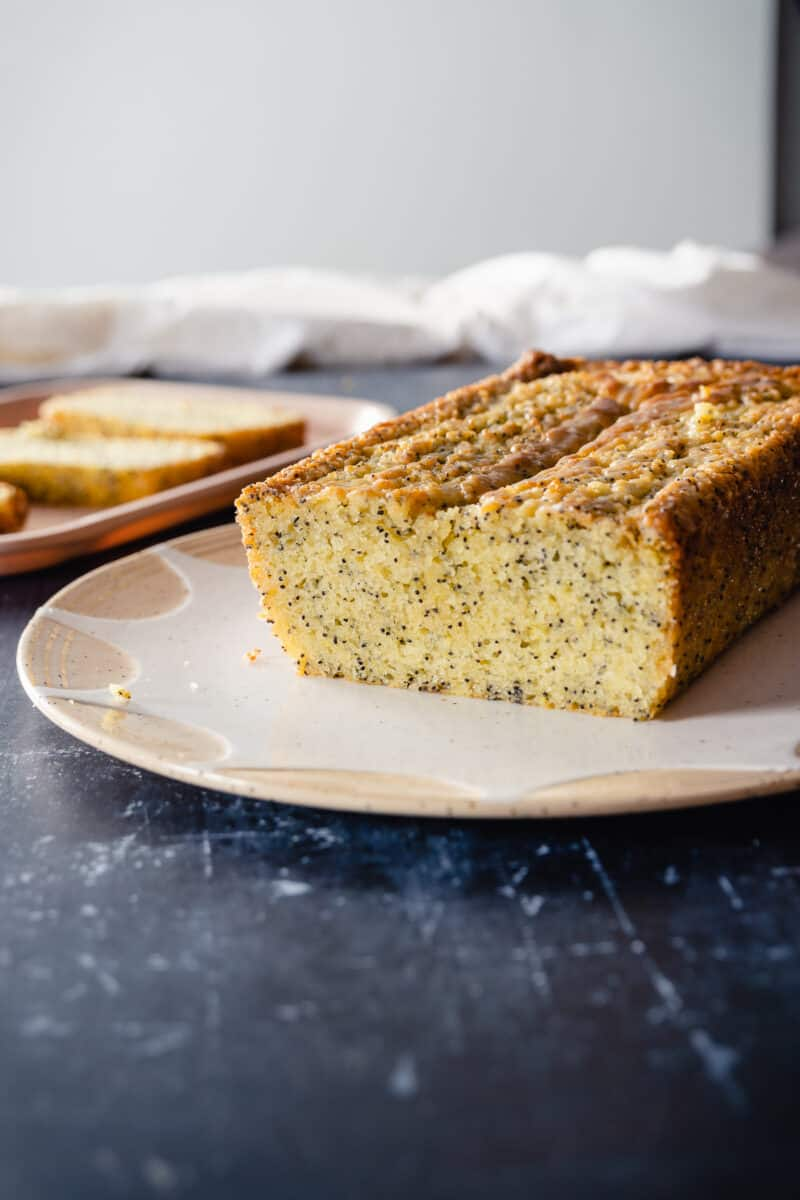 Lemon Poppy Seed Loaf Cake, sliced side exposed