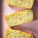 Three Slices of Lemon Poppy Seed Loaf Cake