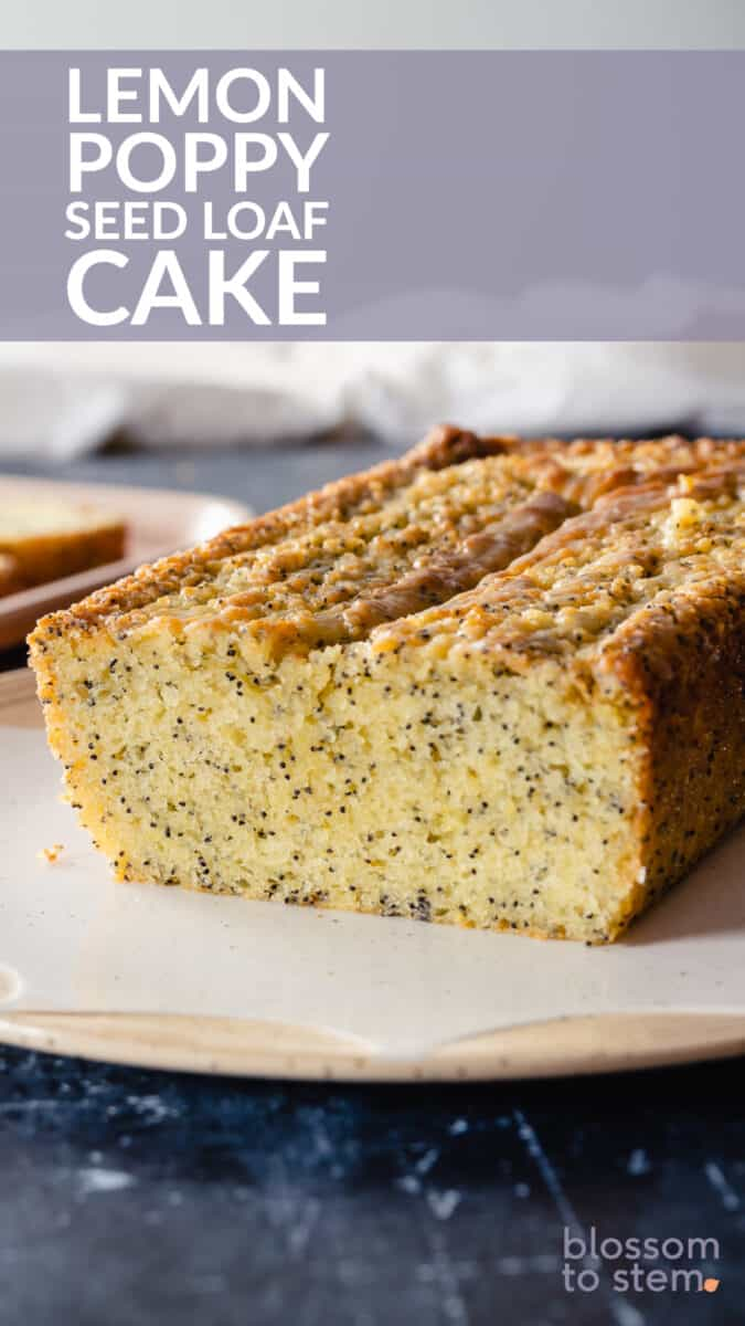 Lemon Poppy Seed Loaf cake, sliced to expose crumb